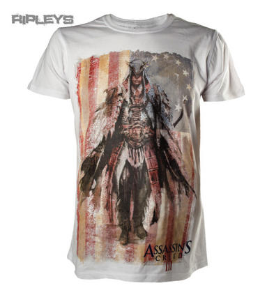 Official T Shirt ASSASSINS CREED III 3 White CONCEPT ART Distressed All Sizes